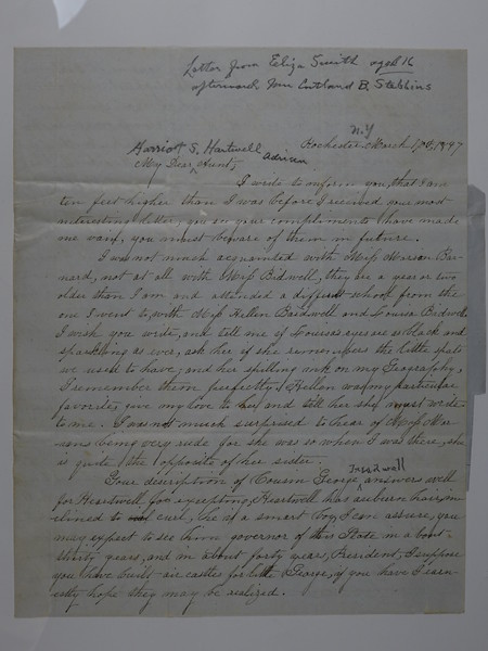 1847 March 17 Letter Eliza Smith age 16 to Harriet S Hartwell Adrian