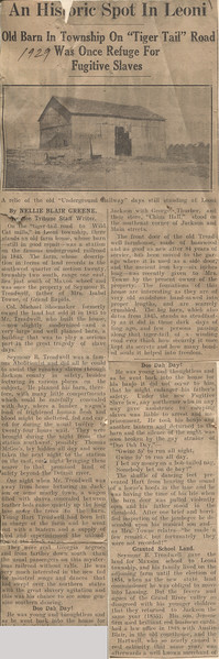 1929 Newspaer Article re slave barn in Leoni
