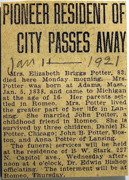 Obituary Elizabeth Briggs Potter 11 Jan 1921