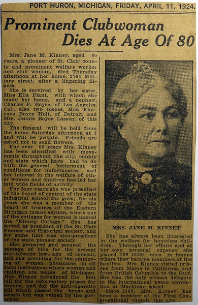 Obituary Jane M Kinney-Plant 11 April 1924