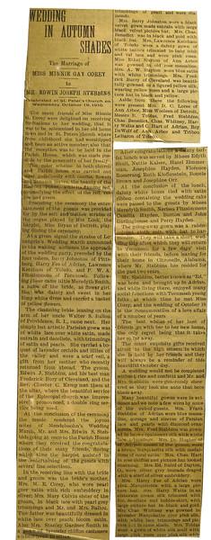 Wedding Announcement of Minnie Gay Corey to Edwin Joseph Stebbins 19 Oct 1910