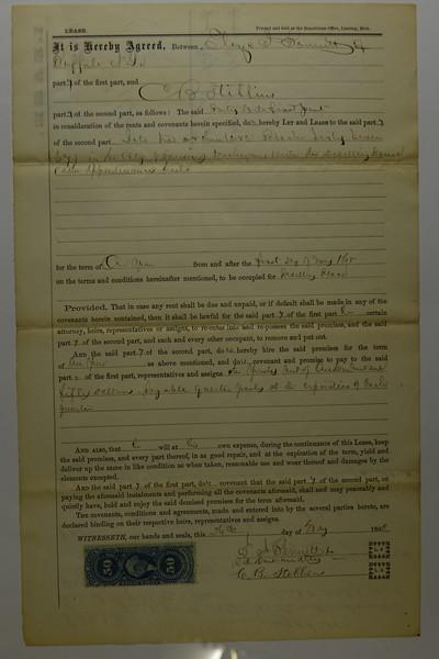 1865 May 1 Lease Eliza Bennett to CB Stebbins in Lansing