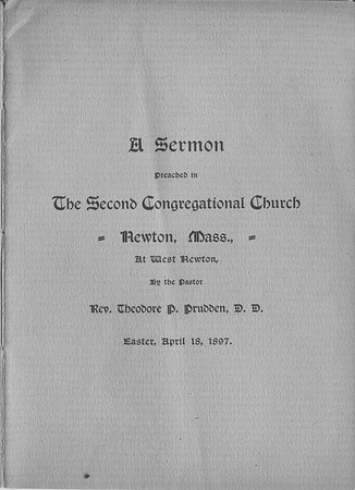 Sermon by Dr Prudden in Newton Mass