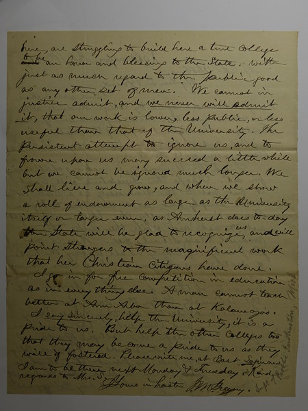 Letter from J M Gregory (Supt of Public Instruction MI) to CB Stebbins  11 Feb 1867