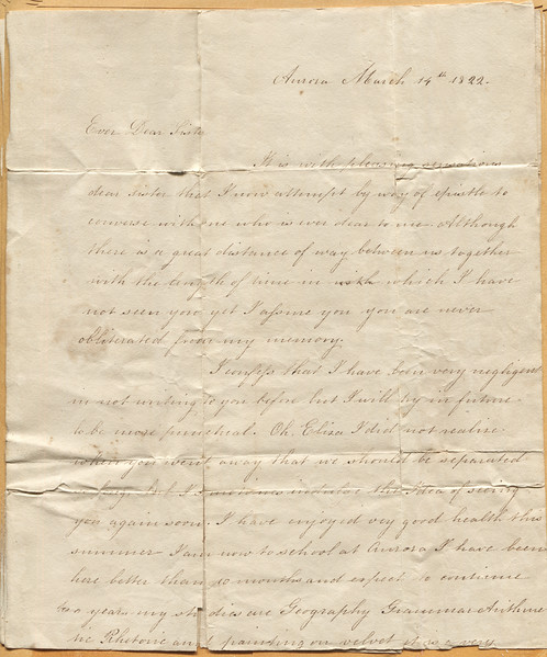 1822 March 14 letter to Eliza Treadwell from Hannnah pg1