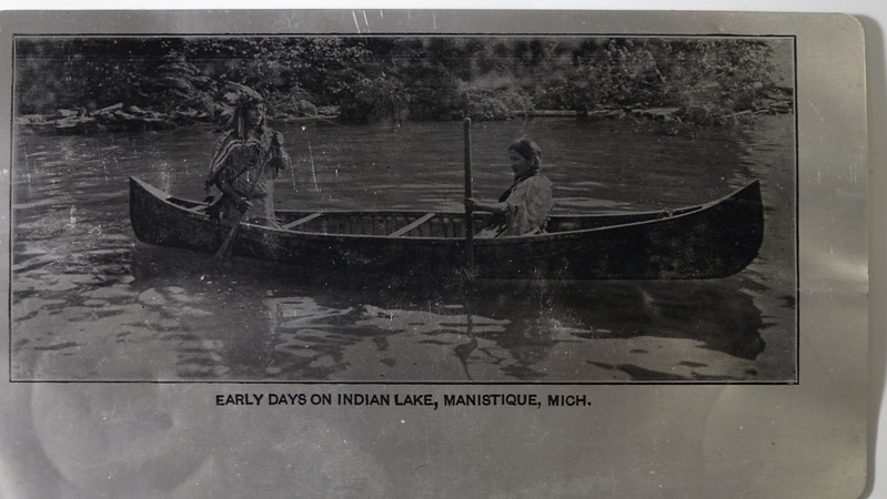 Metal Postcard Early Days on Indian Lake Manistique Mich