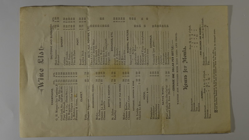 Dinner Menu 4 July 1883 Russel House Wine LIst