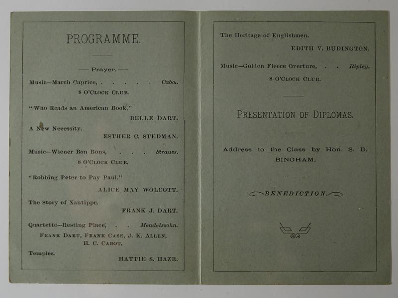 Lansing Public Schools Graduating Exercises 27 June 1879 Inside