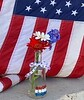 flag, mosaic, ribbon and flowers