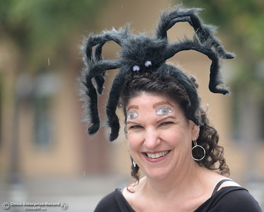 Chico City Council Candidate Tami Ritter gets into the Halloween spirit during Treat Street in downtown Chico, Calif. Monday Oct. 31, 2016. (Bill Husa -- Enterprise-Record)