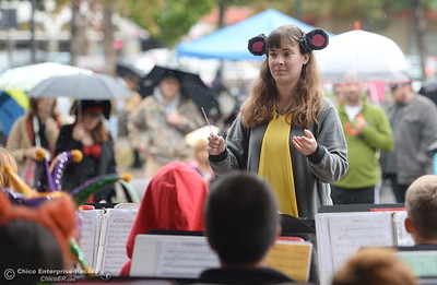The Marsh Junior High Band performs during Treat Street in downtown Chico, Calif. Monday Oct. 31, 2016. (Bill Husa -- Enterprise-Record)