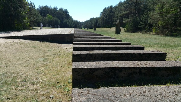 The original platform and track were ripped up by the Nazis.This symbolic rail track and loading platform sit approximately in the same place.