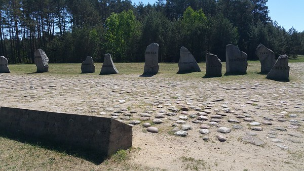 Symbolic stones engraved with the nationalities of those who perished here.