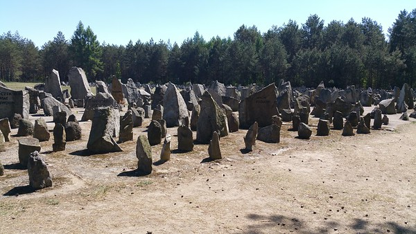 Many of these stones have names of towns and villages that lost folk in this death camp.