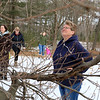 Nature lovers joined Growing Places's Greening the Gateway Cities Program & North County Land Trust for a FREE tree twig and bud identification walk on Saturday morning at the beautiful Doyle Conservation Area. Greening the Gateway Cities Coordinator Ashley Hoffman led the walk to help everyone learn how to identify common New England trees by their twigs and buds. Looking up at their first tree, a European Beech, is Connie Allen, of Leominster. SENTINEL & ENTERPRISE/JOHN LOVE