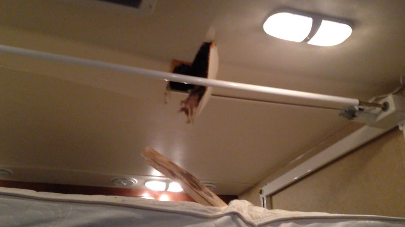 Video number five, this shows the hole in the ceiling and the tree branch still stuck in the mattress.