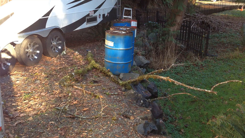 Video number one, showing from ground level showing the tree the large branch fell from that penetrated the roof of the toy hauler.