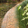 Curved Garden Path with pavers and caladium leaves