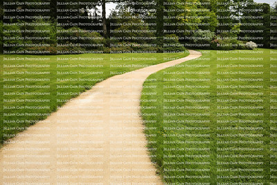 Long white curved garden path surrounded by lush foliage