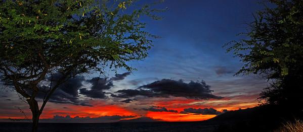 Maui, sun setting behind Lanai'