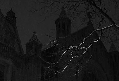 Ascension Church frames a snowy Honey Locust