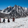 Buddhist pilgrims walking the kora around Mt. Kailash