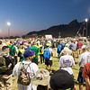 A crowd of thousands of people waiting for the opening ceremony to begin for the Bataan Death March