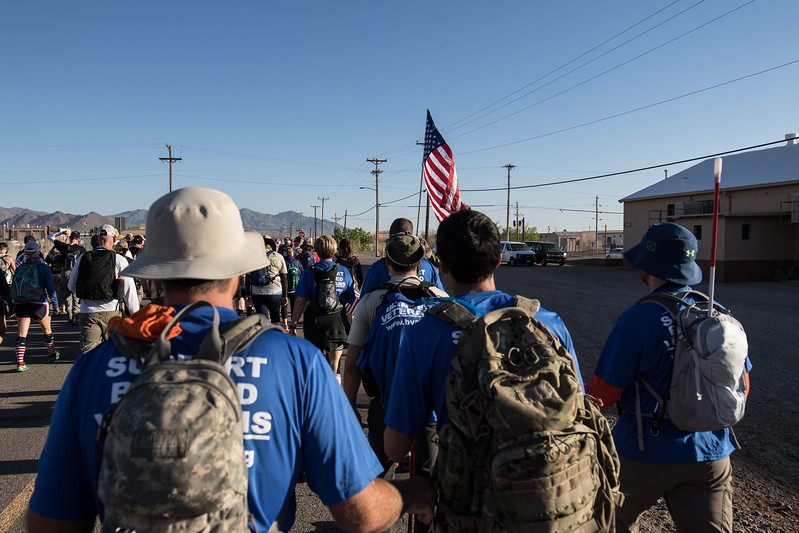 The Blinded Veterans Association (BVA) members start the march on the streets of Bataan Missile Range.