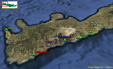 Map showing the 8 day Crete hike