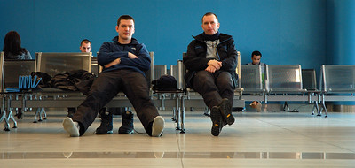 Waiting at the Prague airport for our flight to Athens