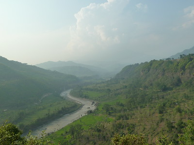 A view up the Budhi Gandaki River, which we would follow to its source on the flanks of Manaslu.
