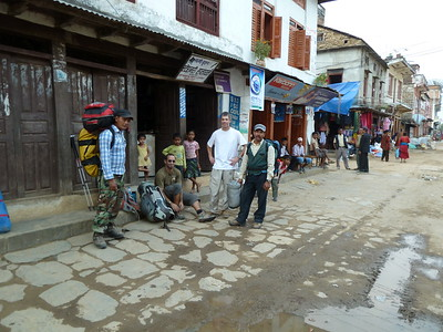 At road's end, Arughat Bazar, preparing to take our first steps of the journey.