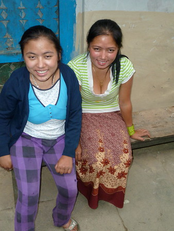 These two sisters ran the teahouse in Tatopani.