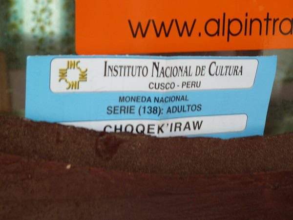 I found my Choquequirao receipt in my backpack and left it as a souvenir in this teahouse window.