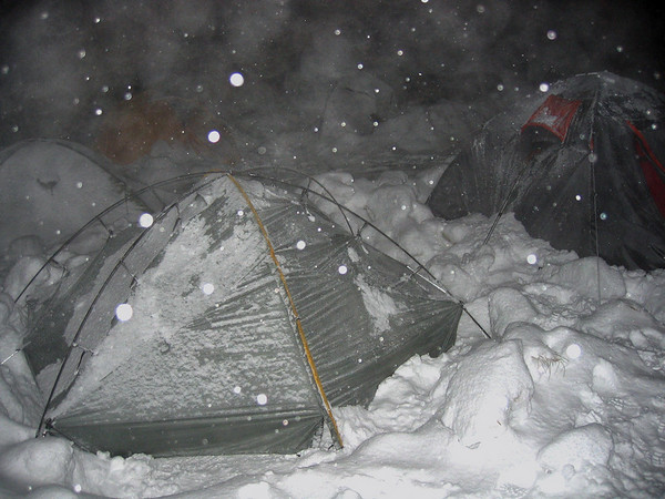 First night. Tons of snow and big wind. Temp -5C
