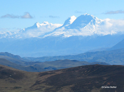 View of Huascaran, Huandoy, and the Cordillera Blanca from the Jatun Machay ruins.