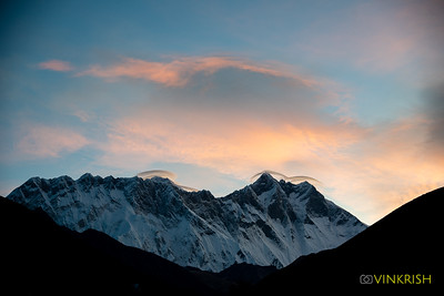 Morning view of Nuptse and Lhotse; Everest tries to peek from behind