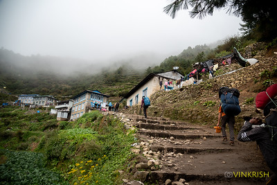 The climb into Namche Bazar