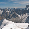 Looking NE with the Midi-Plan Arete in the foreground and the Grandes Jorasses to the right.