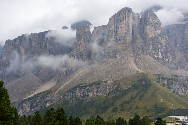 Tomorrow's route ascends a narrow cleft up into the Sella Group