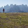 Our first good look at the Pale di San Martino which we will spend the next three days crossing