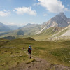 The gentle descent to Passo Pellegrino