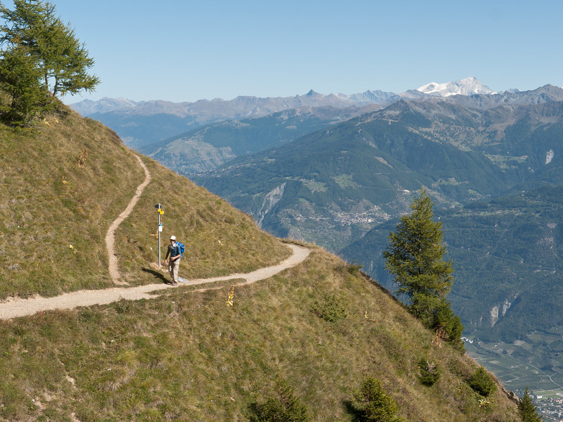 A fantastic balcony trail contours 4 to 5000 feet above the Rhone Valley.  And its even (sort of) flat!