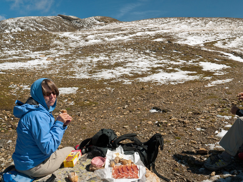 Eschewing the comforts? of the hut, we sit down in Antartica to enjoy our typical French dejeuner.