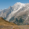 The Brenva face of Mont Blanc with the Peuterey Ridge and the Aiguille Noire to the left of the huge Brenva Glacier