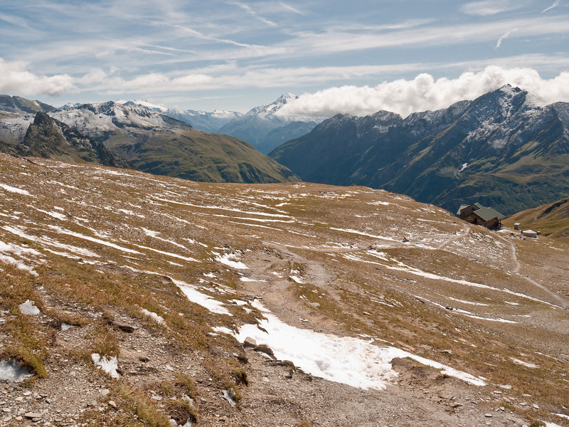 And here we are at col number 2, the Col de la Croix du Bonhomme with the hut below