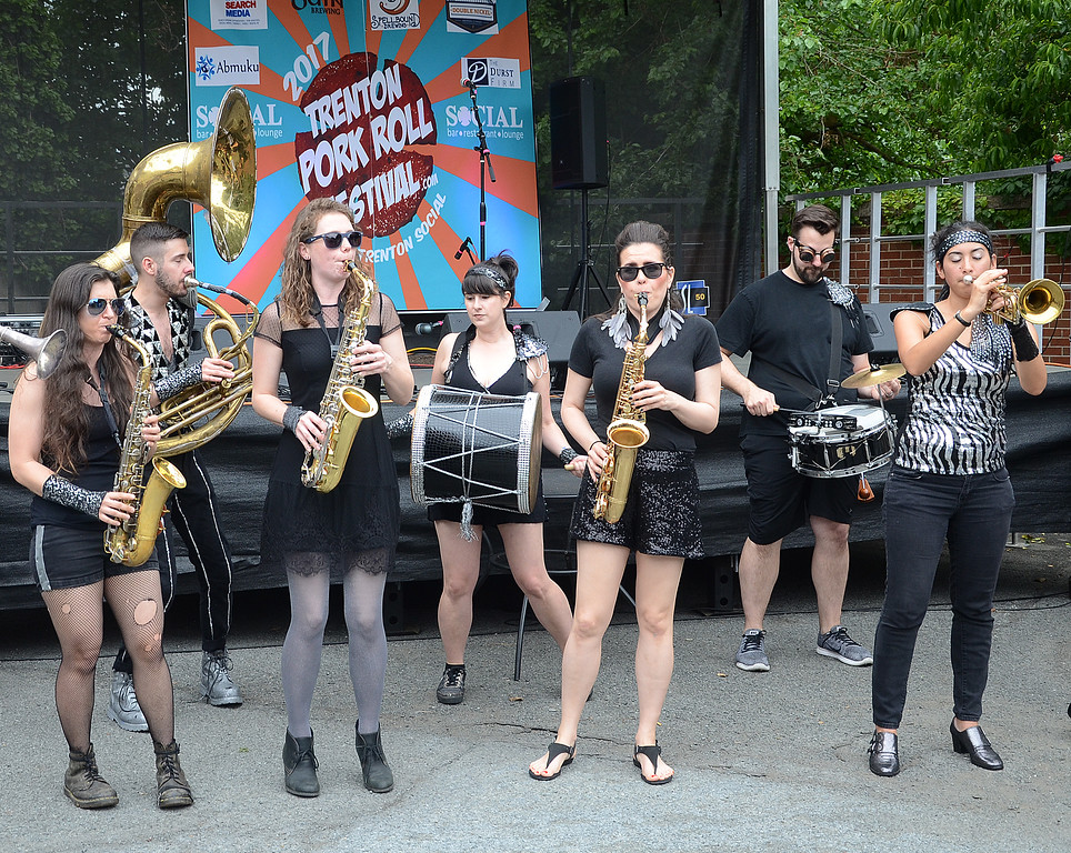 . The Funk Rust Brass Band plays at the 2017 Trenton Pork Roll Festival at Trenton Social. gregg slaboda photo