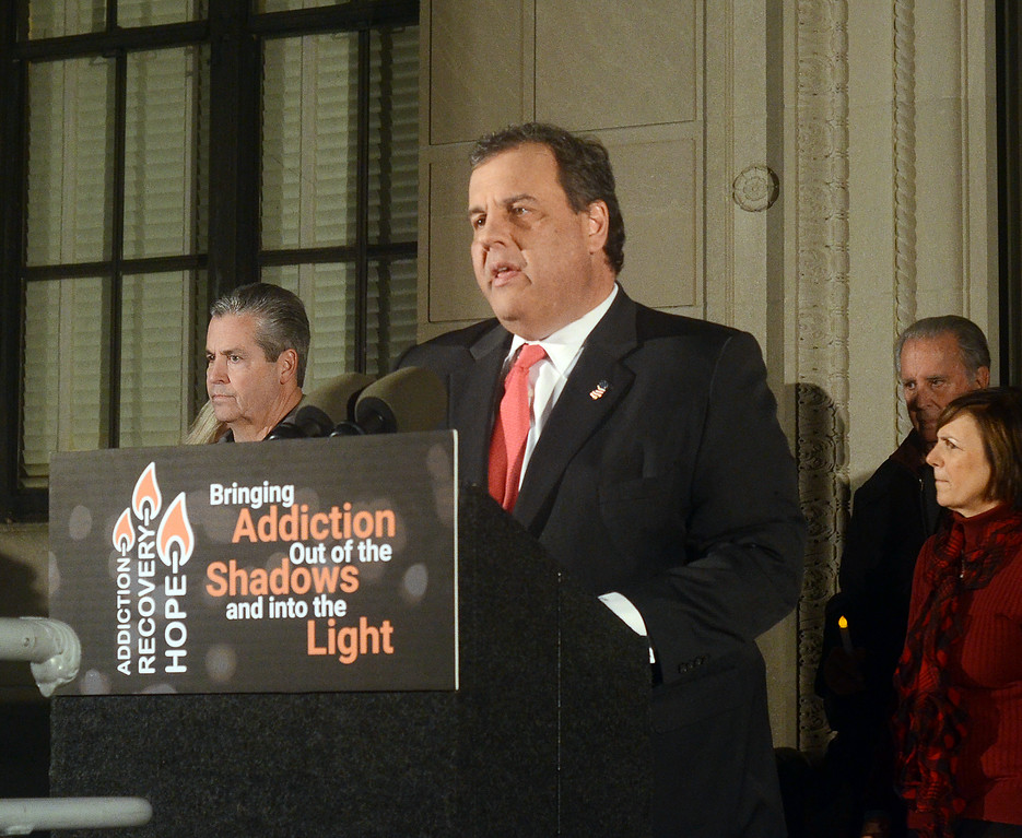 . NJ Gov Chris Christie speaks at the 2nd Annual Candlelight Vigil on Wednesday outside the state house . gregg slaboda photo