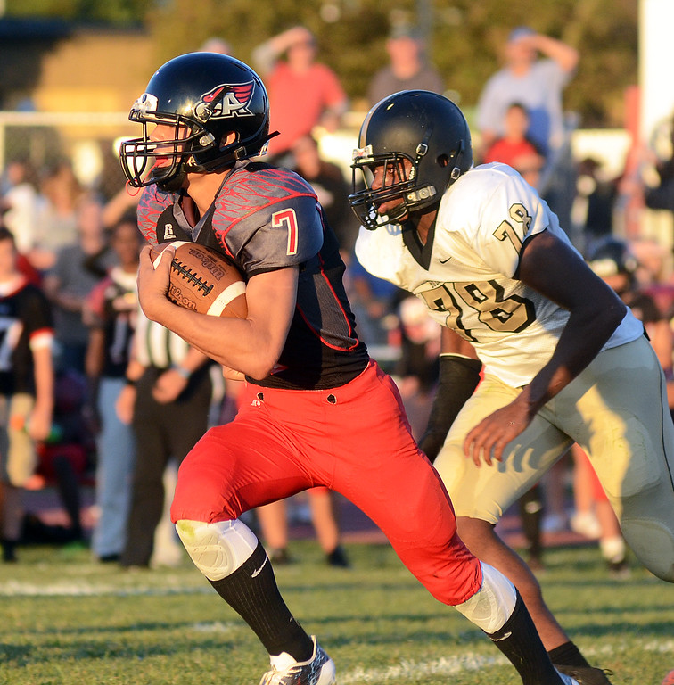 . Allentown`s Dan Merkel(l) on the run against Hopewell Valley. gregg slaboda photo