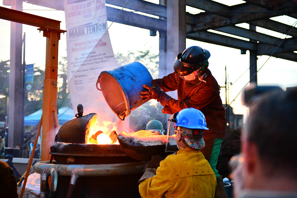 . The Abominog forge is heating up iron to be poured later during Art All Night on June 18, 2016.(For The Trentonian - Scott Ketterer)